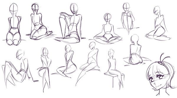 Sitting poses by rika dono on deviantart