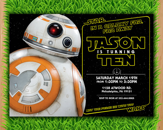 JR Is Turning 8 Invitation Star Wars Invite A Force Awakens By LTAPrints