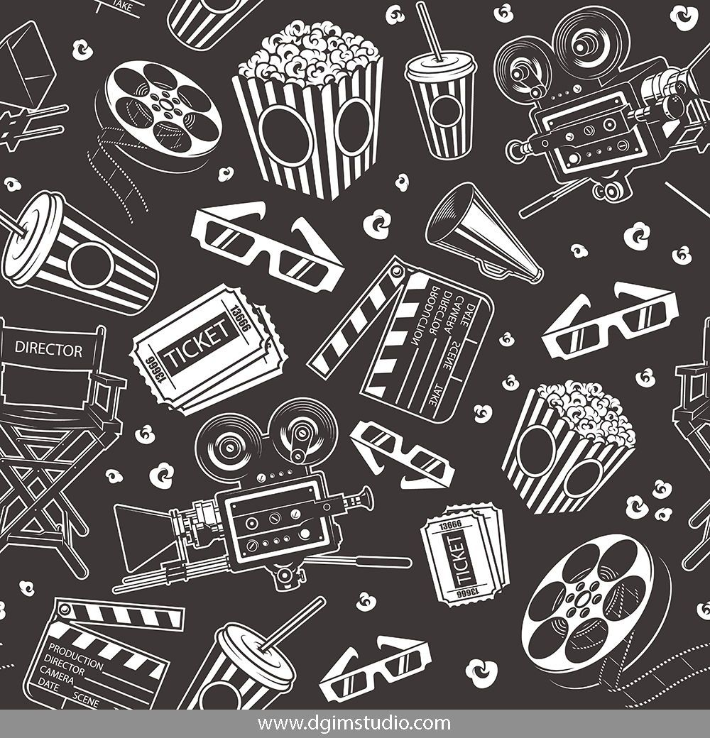 Vintage Cinema Seamless Pattern With Film Reel Movie Camera Megaphone Tickets 3d Glasses Soda Cup Popcorn Bucket Film Reels Vintage Movies Vintage Film