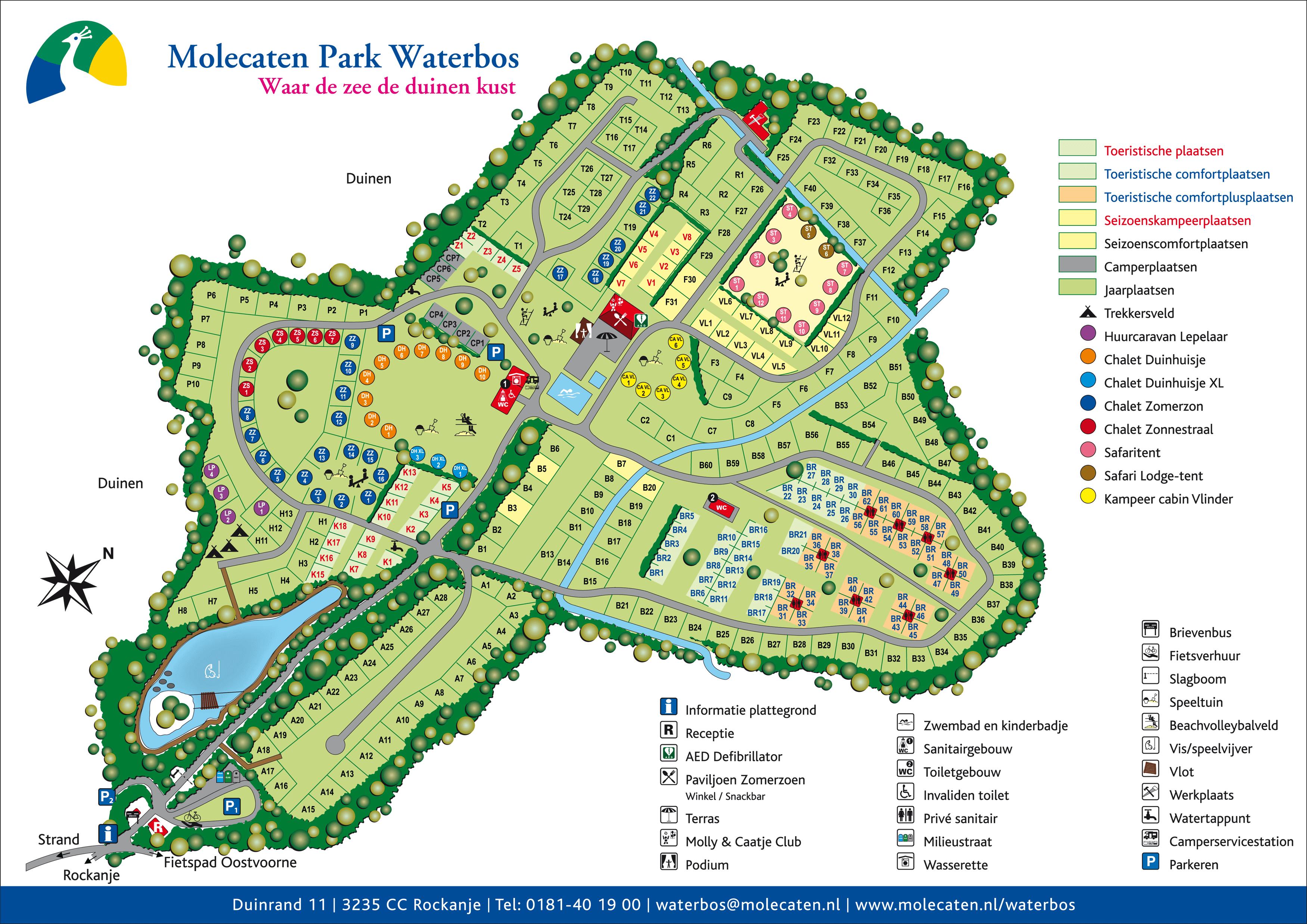 Parkplattegrond van camping Waterbos in Rockanje Molecaten