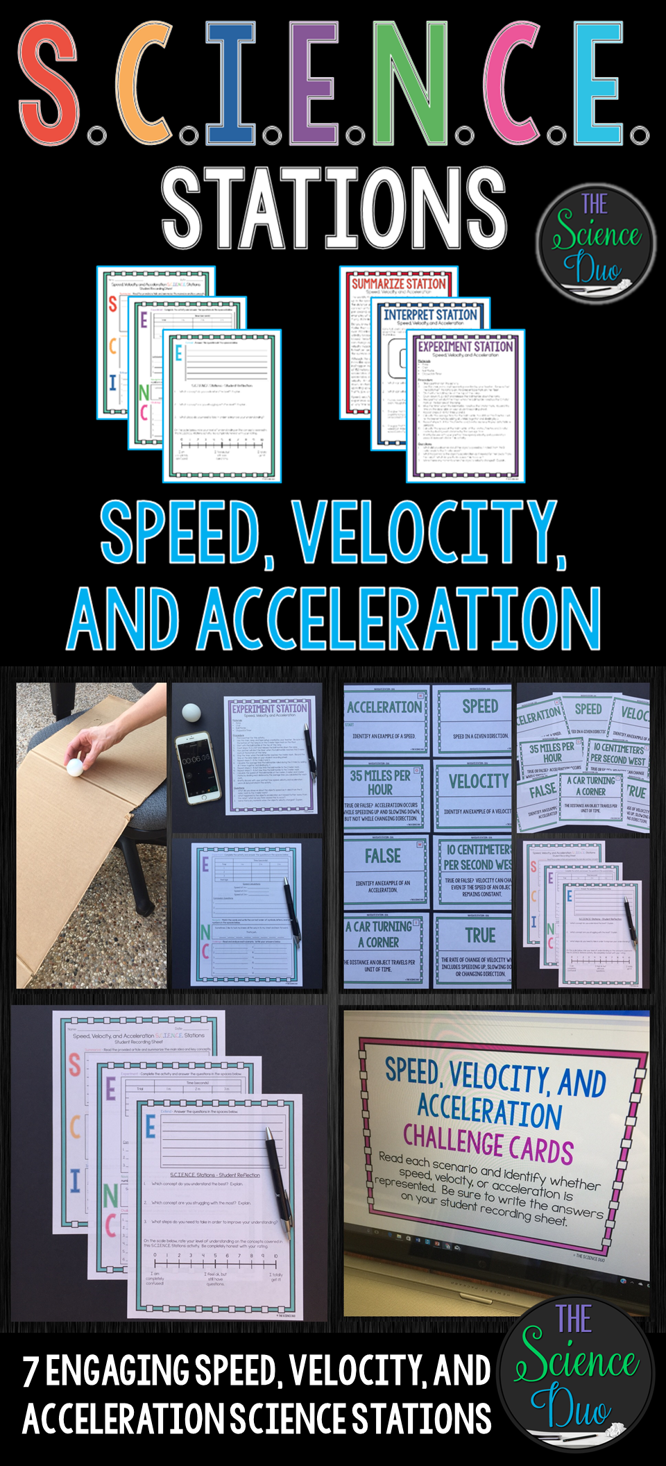 This Speed Velocity And Acceleration S C I E N C E Station Activity Is De Middle School Science Activities Teaching Middle School Science Physics High School [ 2112 x 960 Pixel ]