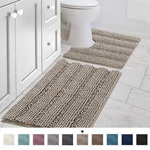 Shaggy 2 Piece Bath Rug Set Taupe 20 X 20 U Shape Contour Rug