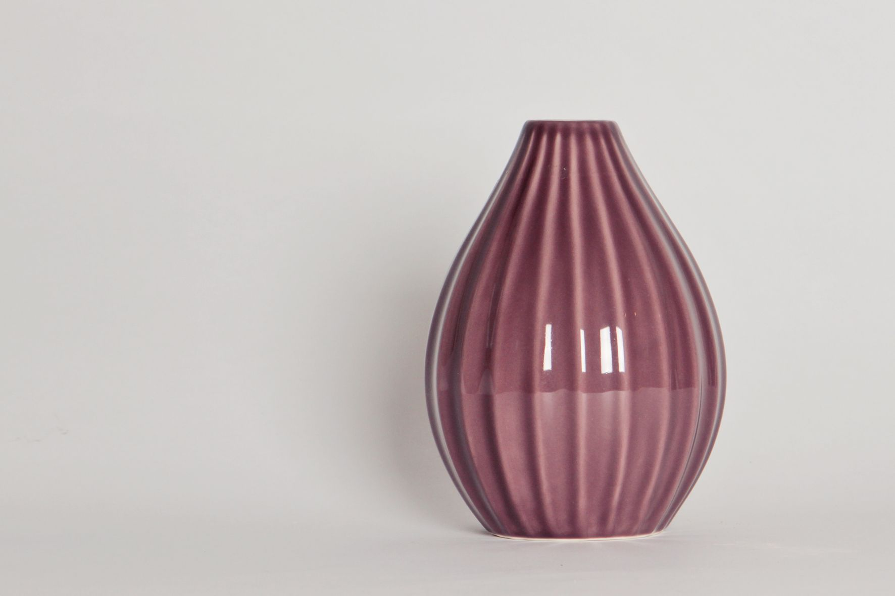 Purple tall striped vase