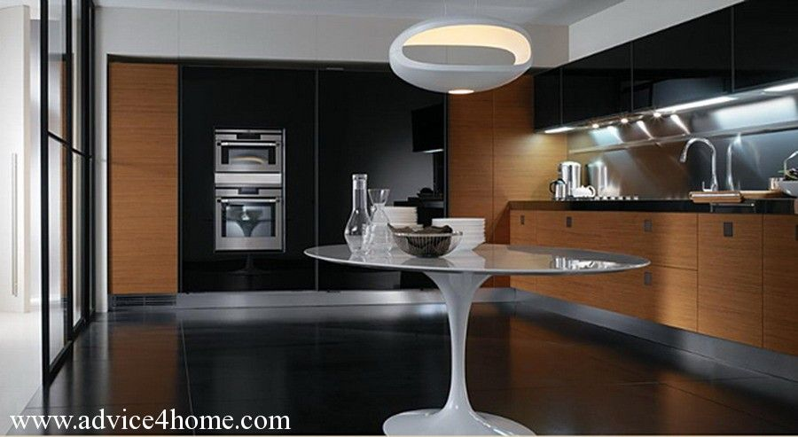 Lovely Black And Brown Cabinet Design In Modern Kitchen