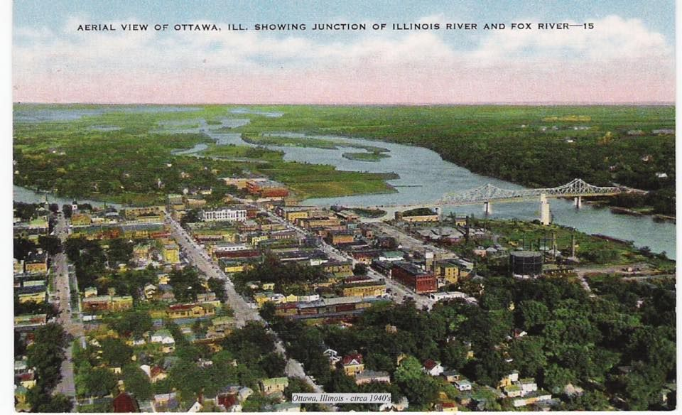 Ariel View of Ottawa, IL showing Junction of Illinois River & Fox