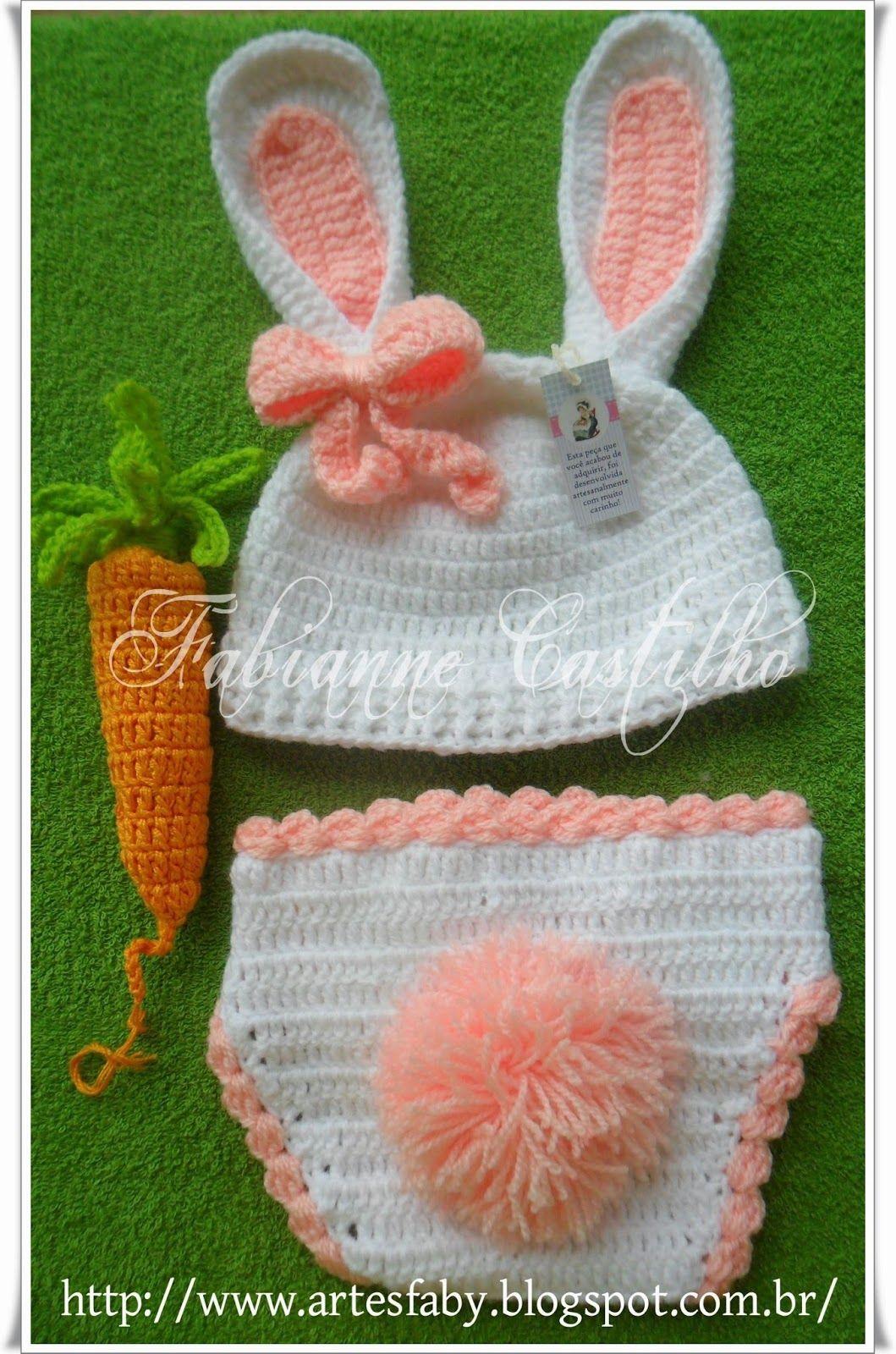 Touca para Newborn Coelho | Toucas ,cachecol croche e sapatinhos lâ ...