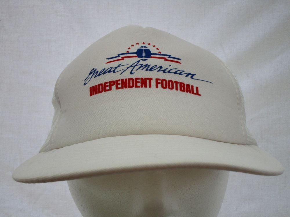 75b02e0ad54 Vintage Great American Independent Football Trucker Snapback White Hat  FoamFront  Snapback