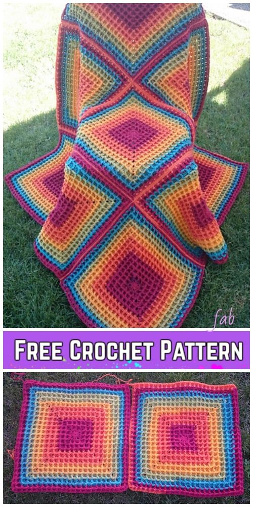 Crochet Raised Squared Waffle Stitch Blanket Free Crochet ...