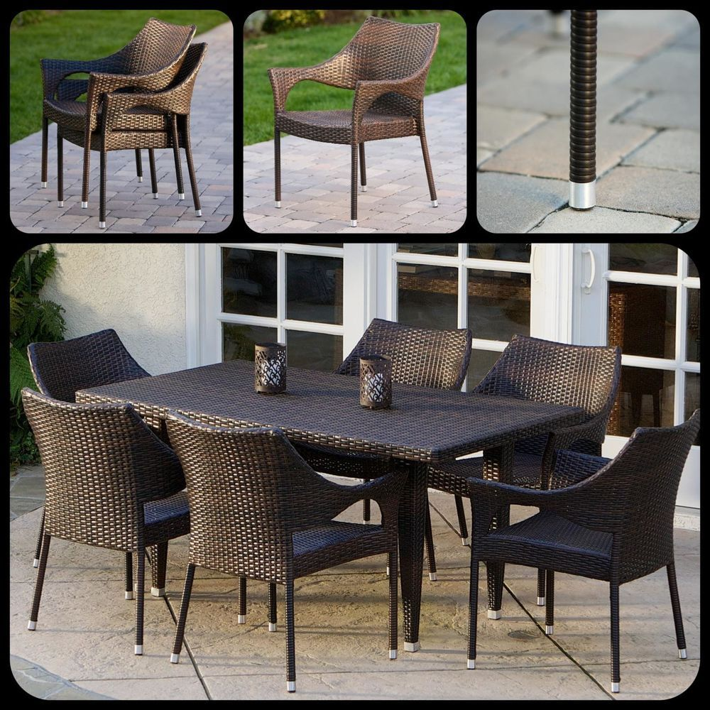 7 piece outdoor dining set patio wicker backyard table chairs modern furniture ebay patiofurniture gardenideas outdoorfurniture dining diningtable