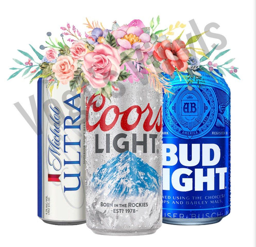 Floral Beer Cans PNG File Ultra Coors Bud Light