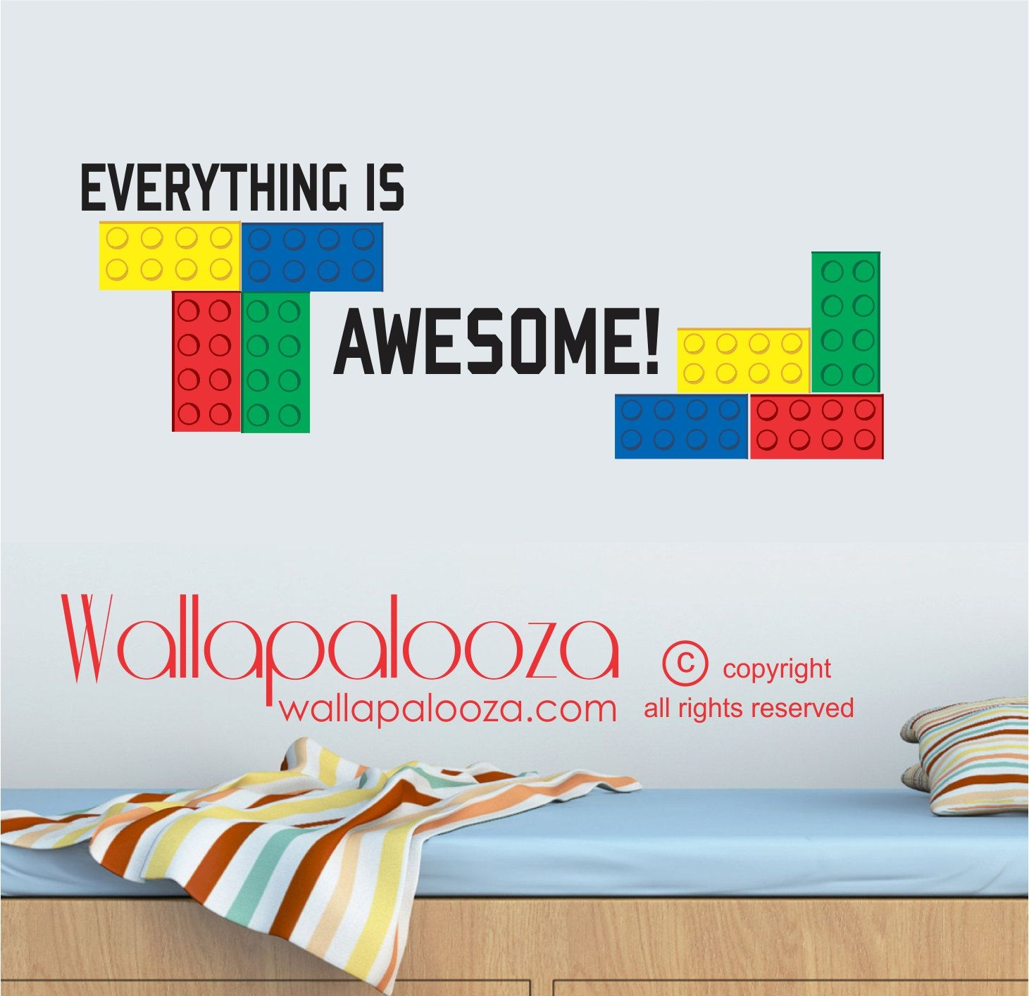 Lego wall decal everything is awesome wall by wallapaloozadecals 35 00