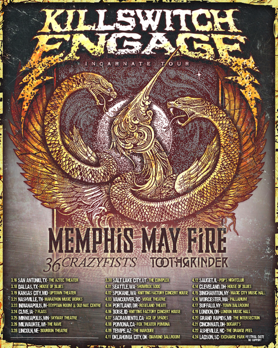 Toothgrinder Added To Killswitch Engage Tour Killswitch Engage Buy Concert Tickets Memphis May Fire