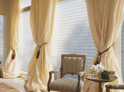 Sheer White Curtains Pulled Together