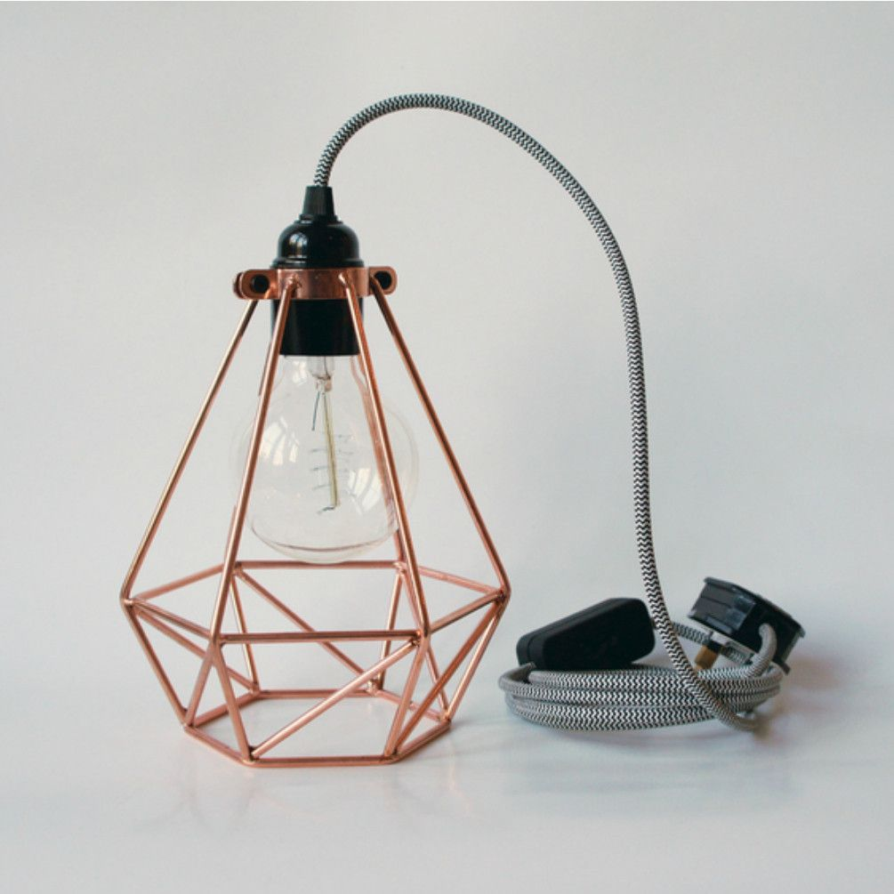 Copper Diamond Cage Light | Details. Plants. | Pinterest | Tischlampe