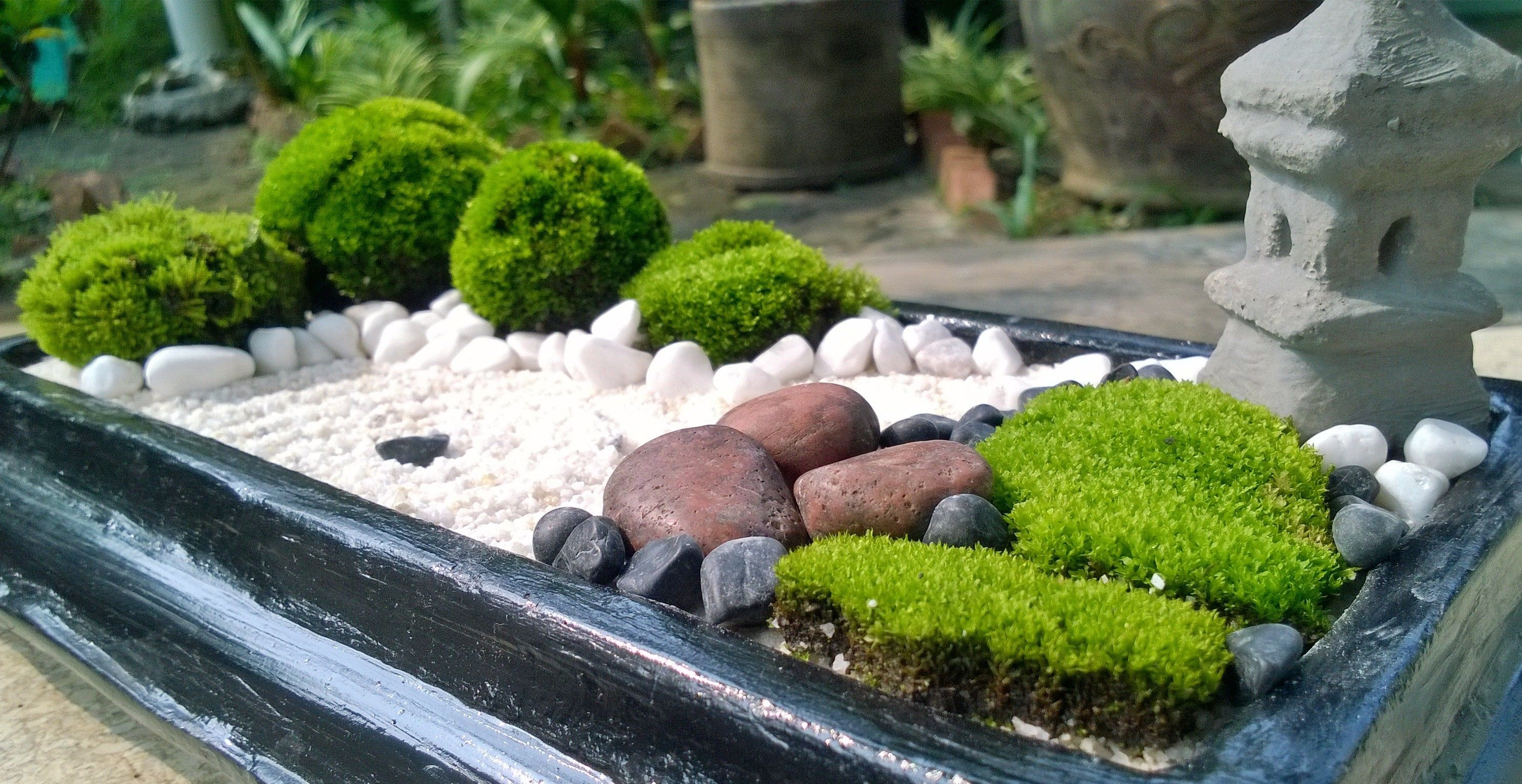Brown stone mini zen garden diy garden zen japanese for Mini zen garden designs