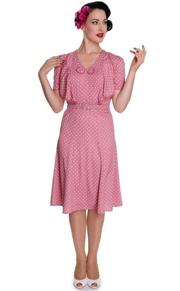Vintage 1940s Syle Pink Polka Dot Belted 40s Reproduction Dress ...