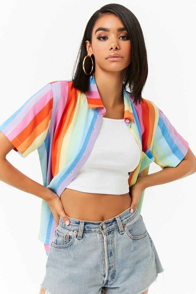 346d3b9ba6f4 Multicolor Rainbow-Striped Shirt | Modern day in 2019 | Dress shorts ...
