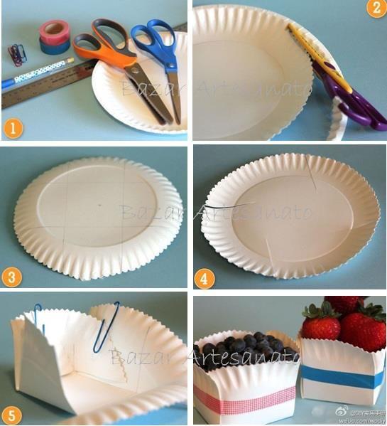 Reutilizando pratinhos de papelão.