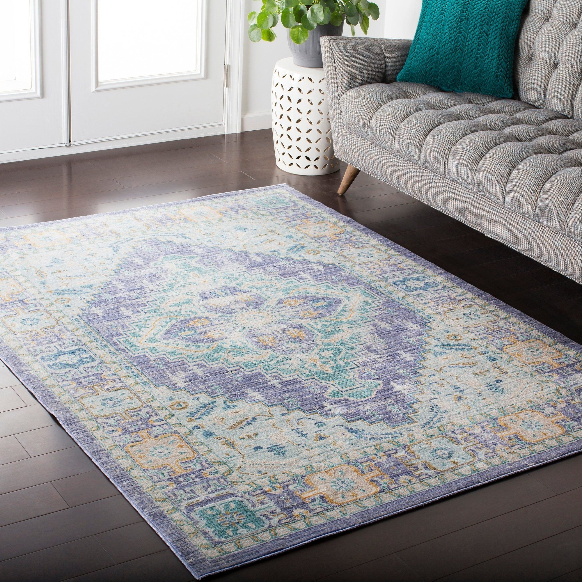 Hali House Distressed Persian Vintage Purple Blue Area Rug 9 X