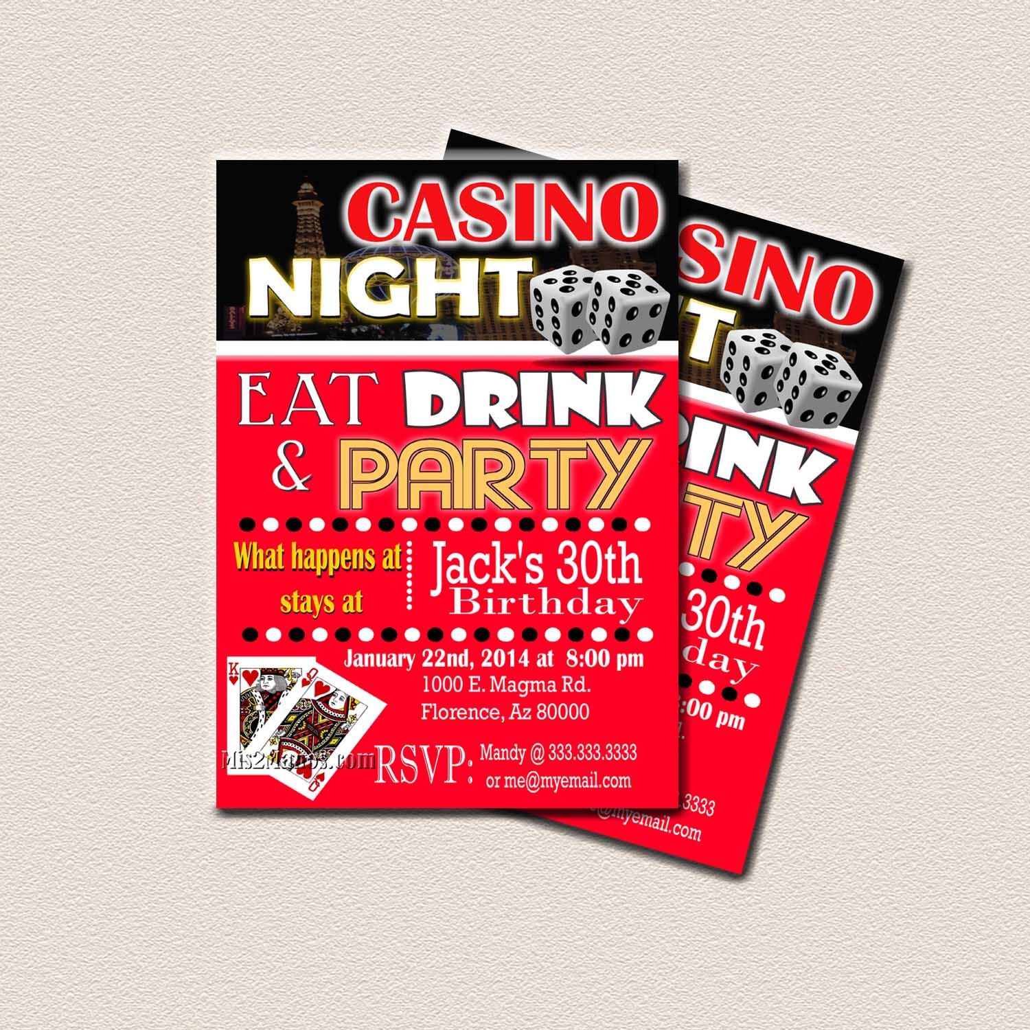 Casino Theme Party, Surprise Birthday Party, Printable 30th 40th ...