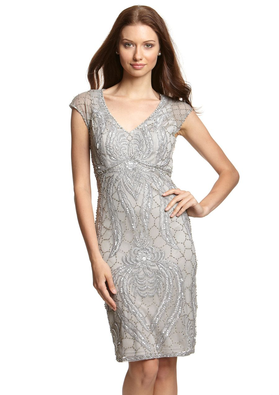 SUE WONG Cap Sleeve VNeck Embroidered Dress 189.99