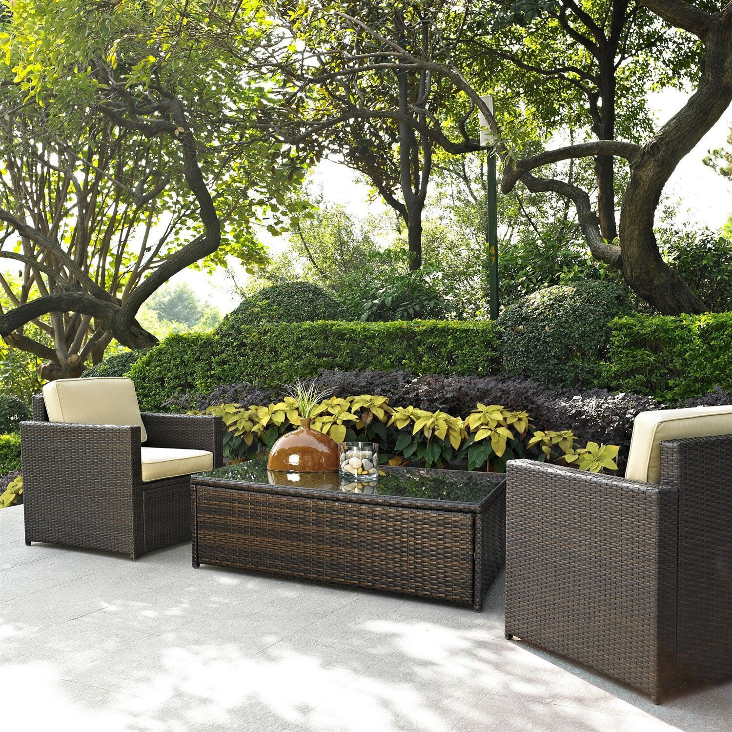 3 Piece Outdoor Wicker Resin Patio Furniture Set With Cushions