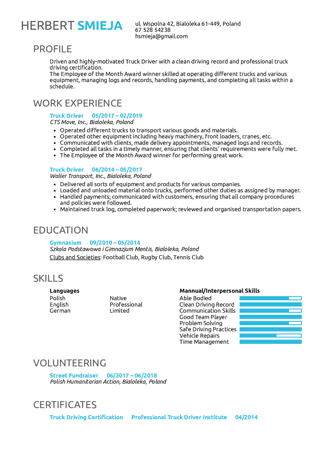 Truck Driver Resume Objective 2019