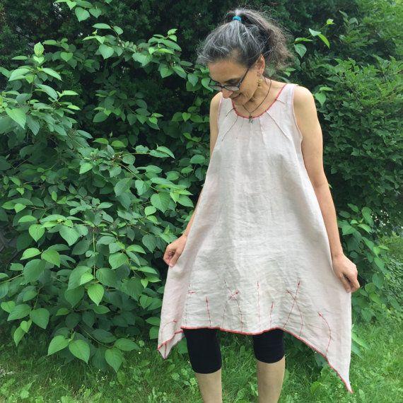 d0c6238f8 Arrow Dress S-L - Organic Linen, red thread - loose linen dress, natural  plant dyes, Minimalism, art, hankerchief hem, women's summer dress