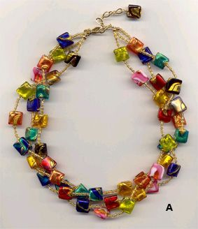 Black Silver Foil Teardrop Lampwork Glass Murano Bead Pendant Ribbon Necklace