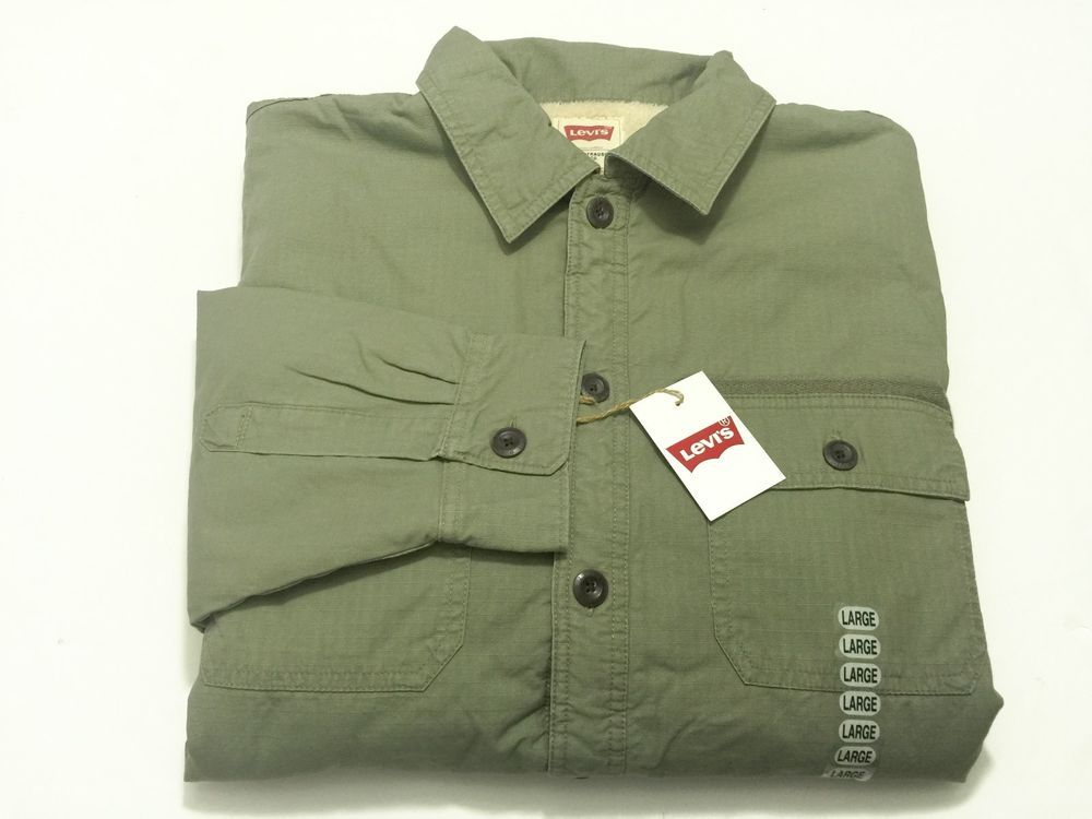 Levis Mens L Button Sherpa Lined Olive Green Shirt Jacket