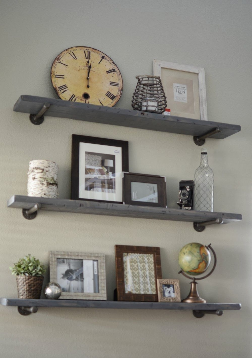 How to make restoration hardware shelves diy six 3 4 x 10 galvanized pipe 3 4 floor - Wall metal shelf ...
