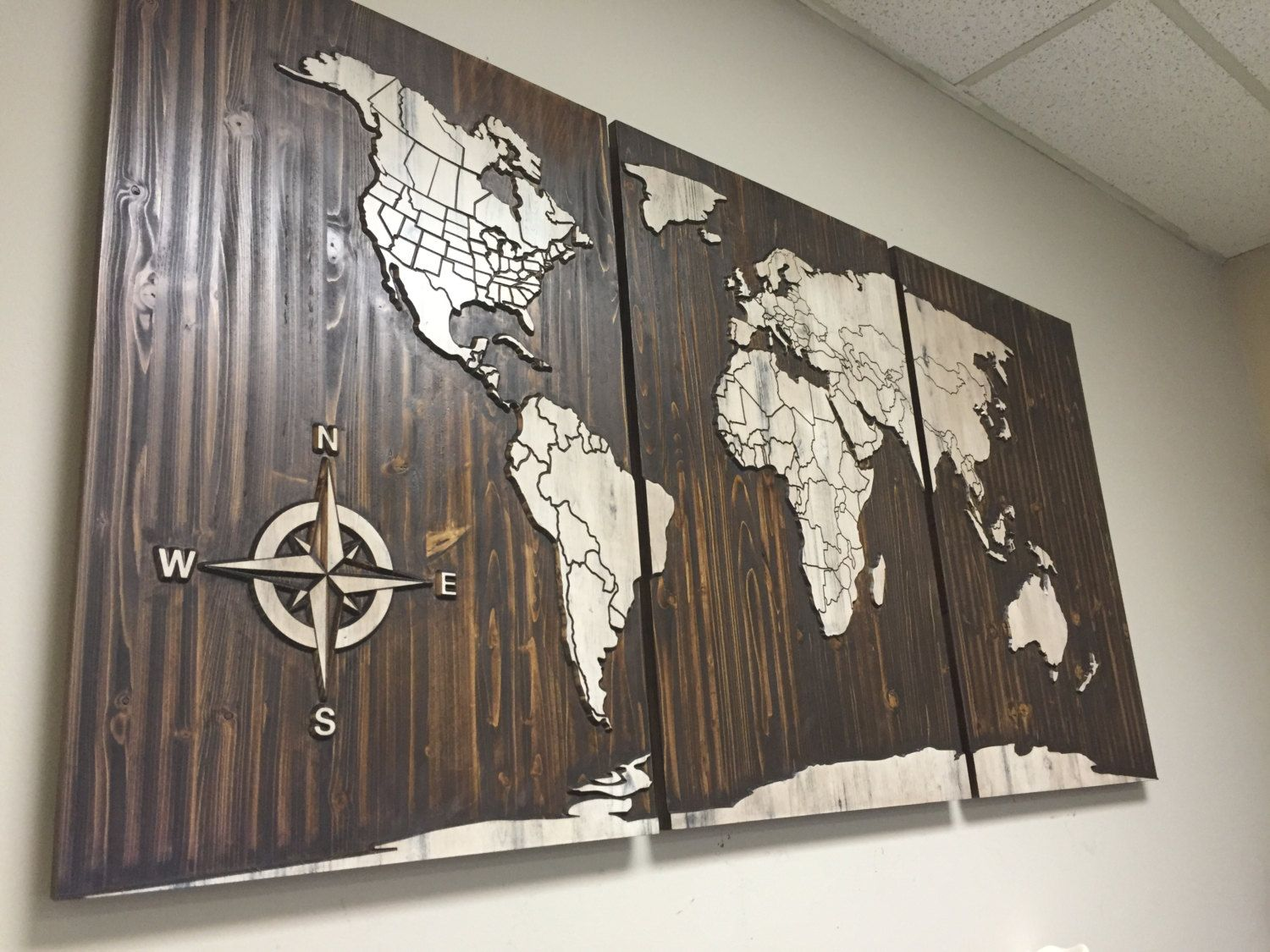 Carved Wood Wall Art Decor Entrancing World Map Carved Wood Wall Art Home Wall Decor Wooden 3 Panel Decorating Inspiration