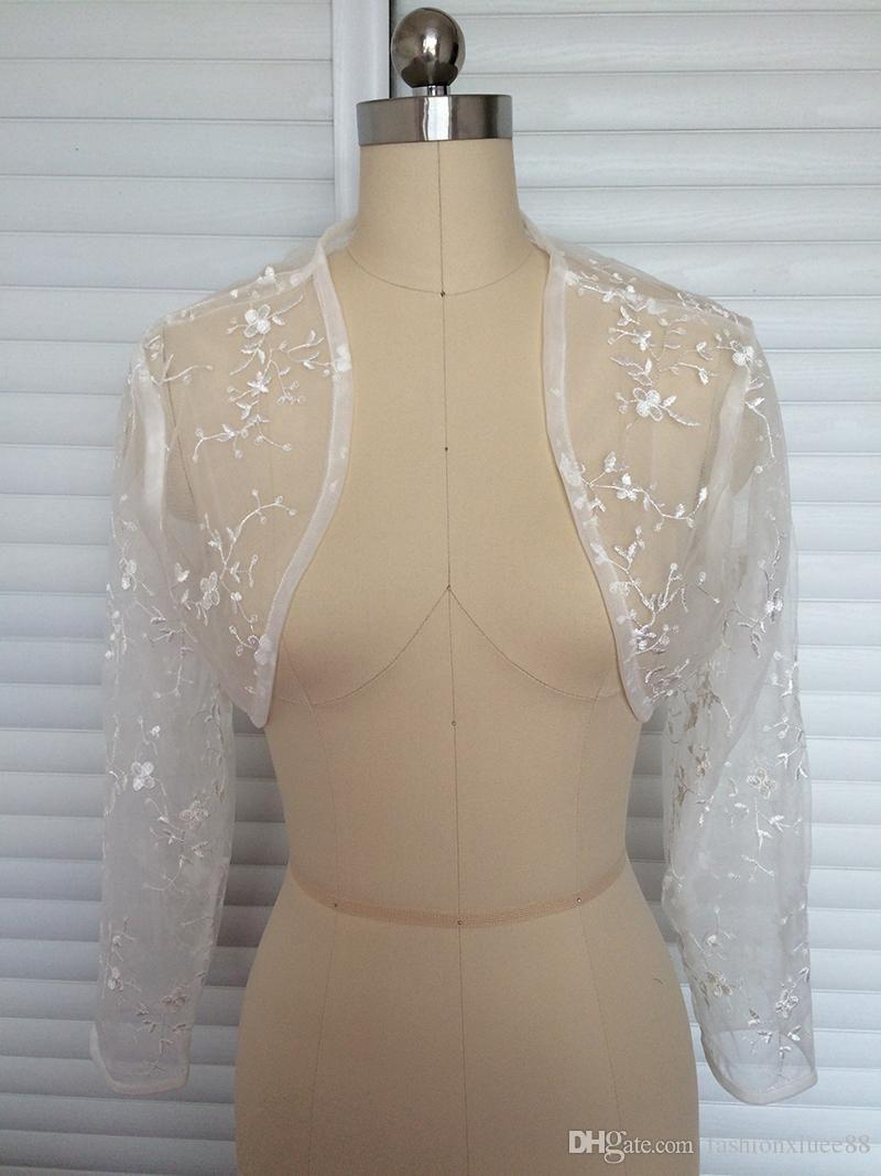 Beautiful Style Ivory Wedding Jackets Sleeves Illusion Lace Bolero For Womens Formal Bolero Women Jacket Bridal Jacket Lace Backless Dress Formal Bridal Jacket