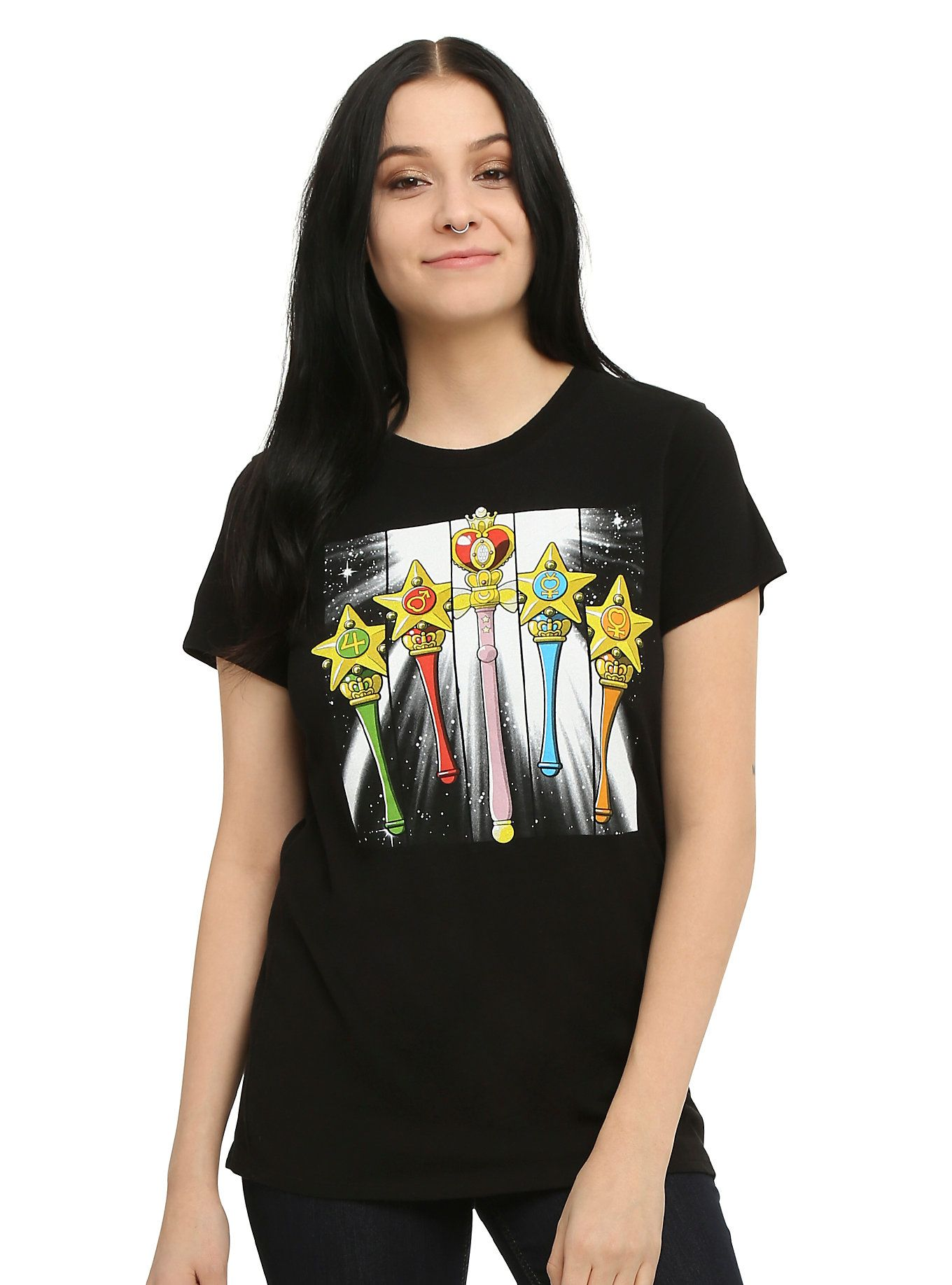 1da44d3b4e0  p Fitted black tee from  i Sailor Moon  i  with colorful transformation  wands design on front.  p   ul   li 50% cotton  50% polyester  li   li Wash  cold  ...
