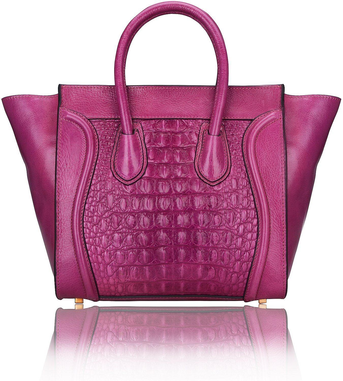 c47da87105 Pijushi Classic Lady Crocodile Embossed Leather Tote Handbag 6011 (Model  6011