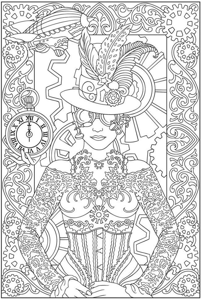 free coloring page coloring adult clock woman coloring page of a woman