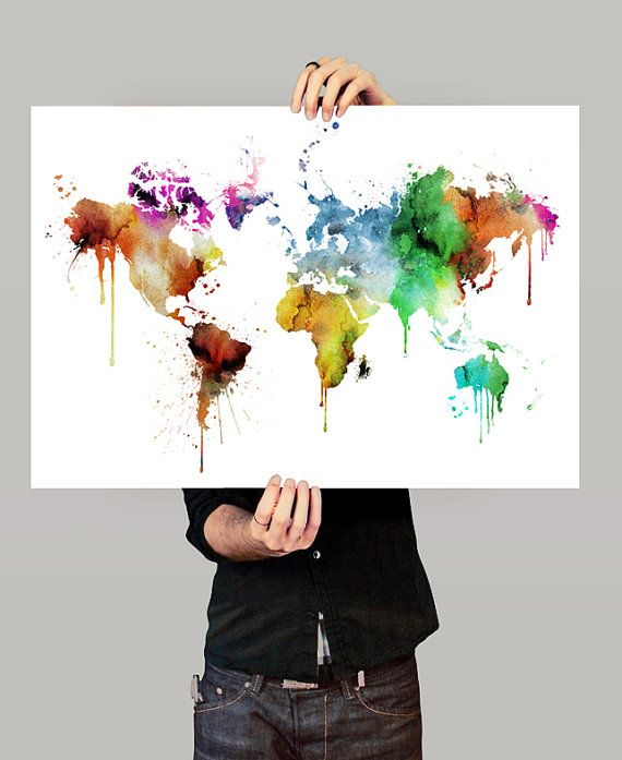 Colorful World Map - Art Print - Watercolor Painting the workspace - copy large world map for the wall