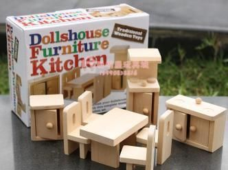 Kitchen furniture Miniature wooden dollhouse furniture sets Toys for  children Free Shipping