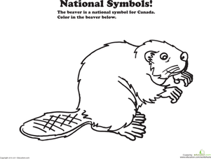Teach Your Child A Little About Our Neighbors Up North With This Social Stu S Coloring Sheet Featuring The Beaver The National Animal Of Canada
