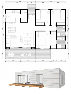 Planos casas de madera prefabricadas plano de casa 100 m2 for Viviendas minimalistas pequenas