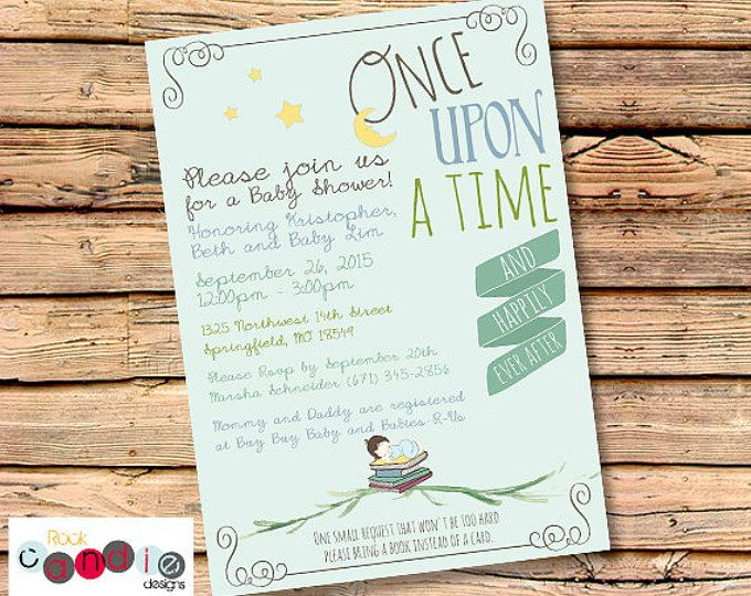 Printable Or Printed Book Themed Baby Shower Party Invitation Once Upon A Time Sto Baby Shower Party Invitations Baby Shower Themes Baby Shower Invitations