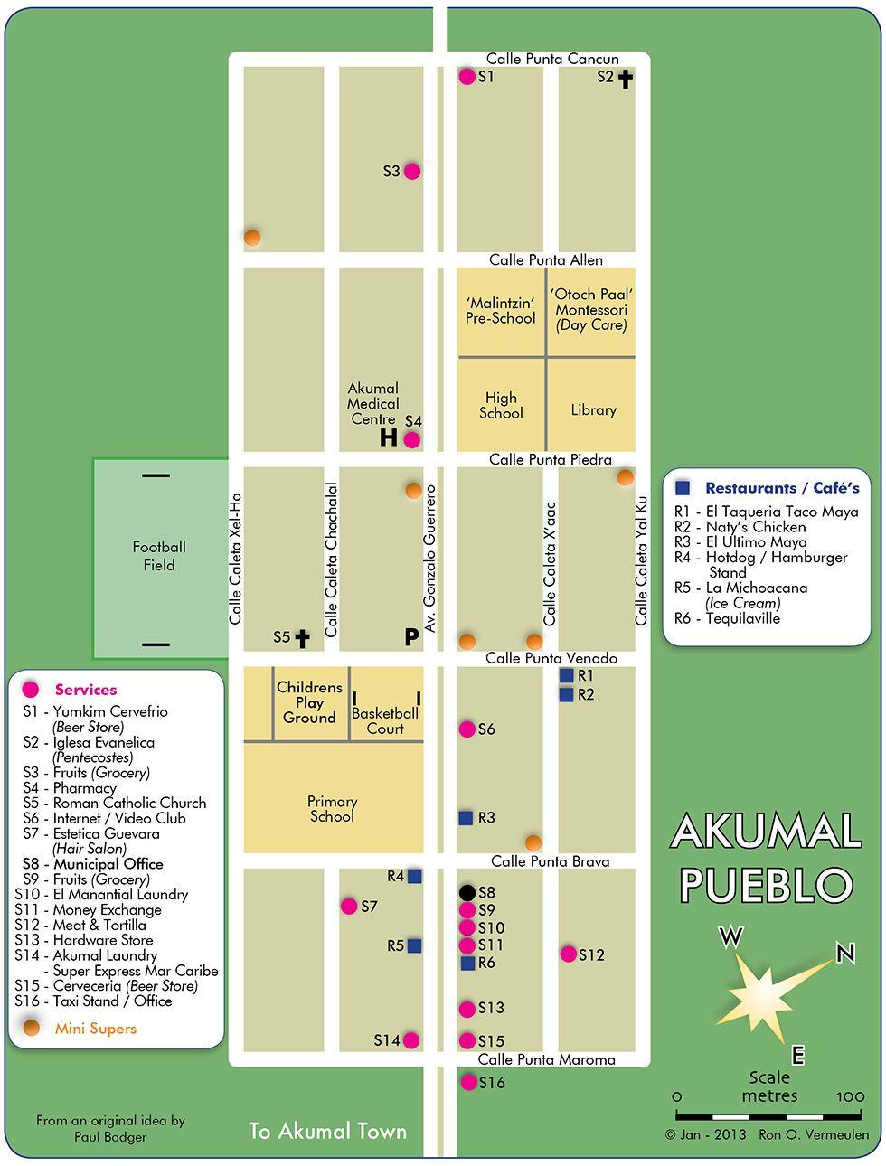 Akumal Pueblo Map | Akumal Mexico in 2019 | Akumal mexico, Quintana ...