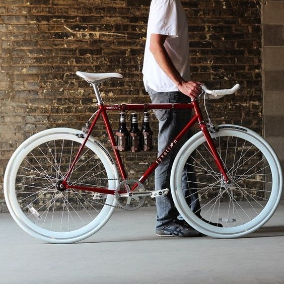 Bicycles A Classic Burgundy Red Fixie Bike With A White Saddle Handlebars And Tyres Bicycle Fixed Gear Bike Fixie Bike