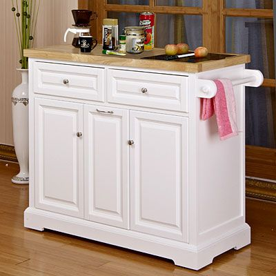 White Kitchen Cart With Black Granite Insert at Big Lots ...