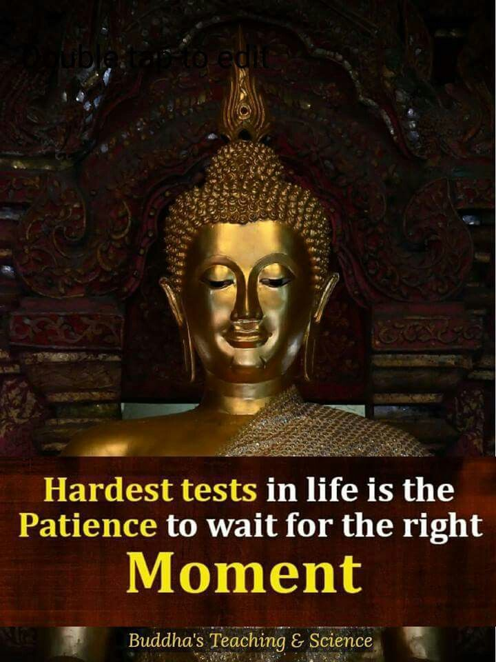Hardest Tests In Life Is The Patience To Wait For The Right Moment