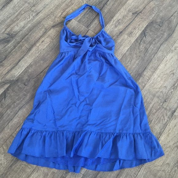"""100% silk blue Halter Silk dress worn one time. Adjustable halter ties at bust instead of neck:) from bust to hem is 27"""" size is 0 petite so is shorter then a normal 0. Across bust is 12"""" but is elastic in back so gives a bunch! Banana Republic Dresses Mini"""