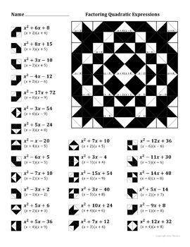 Factoring Quadratic Expressions Color Worksheet #2   Worksheets ...