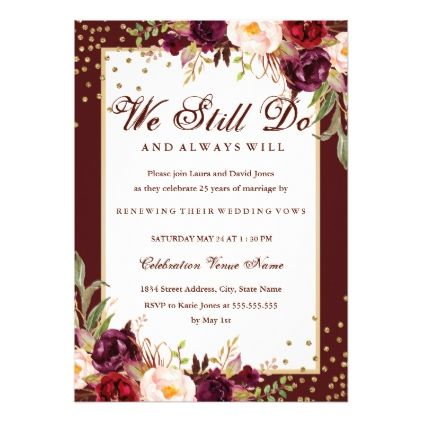 Floral Gold Burgundy Vow Renewal Anniversary Card