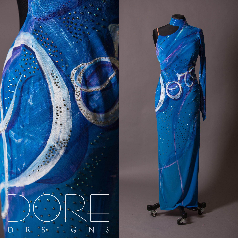 "Blue Handpainted ""Dore"" Dress"