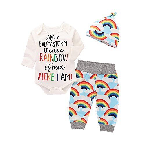 9baed6282b0 Baby Boy Girl 3 Piece Set RAINBOW Letter Long Sleeve Romper Top+Printing  Pant+Hat Set for Toddler Boys (age  4-6 month